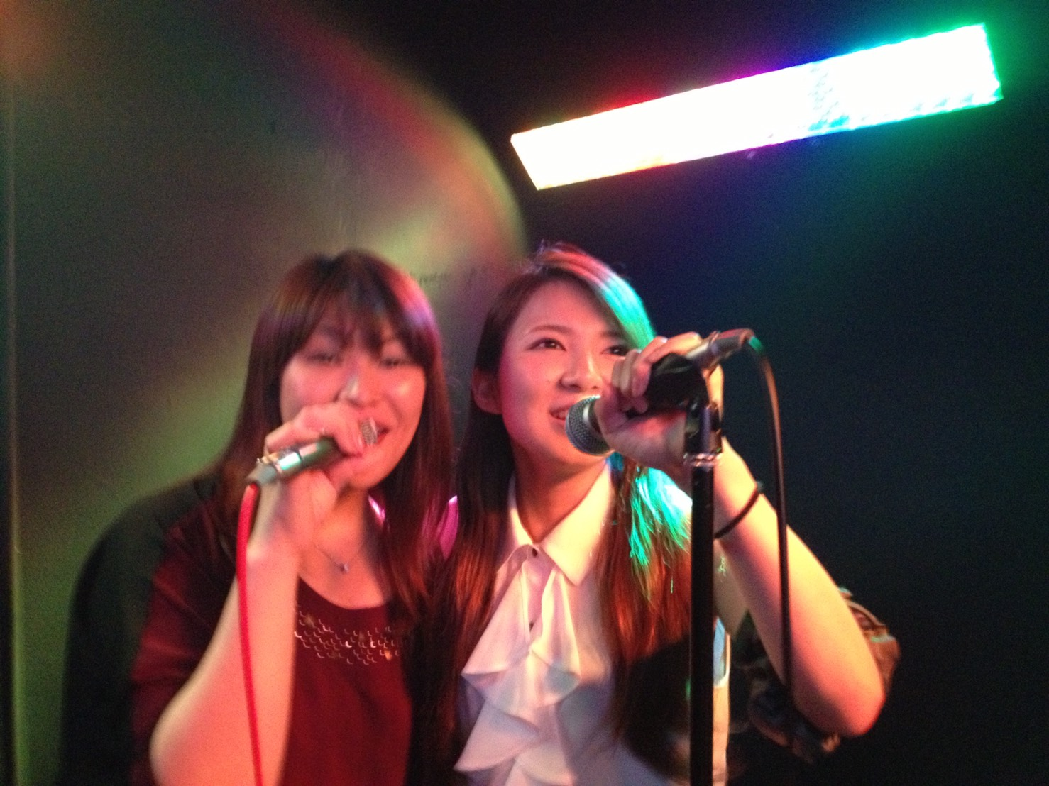 singing at the stage